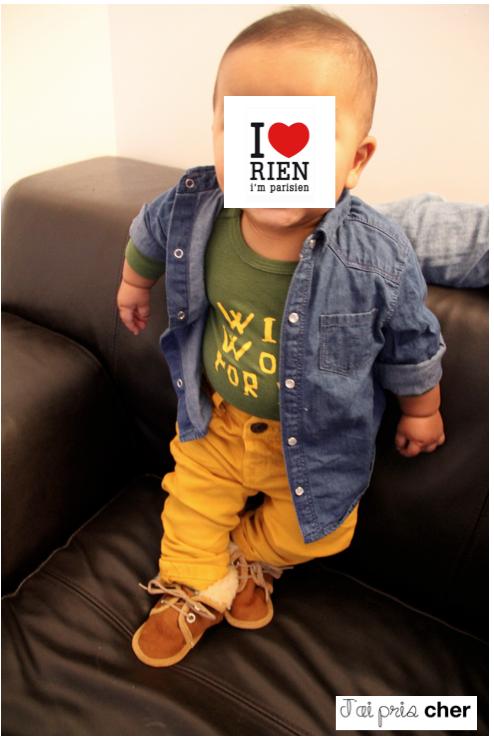 look jeans moutarde bébé