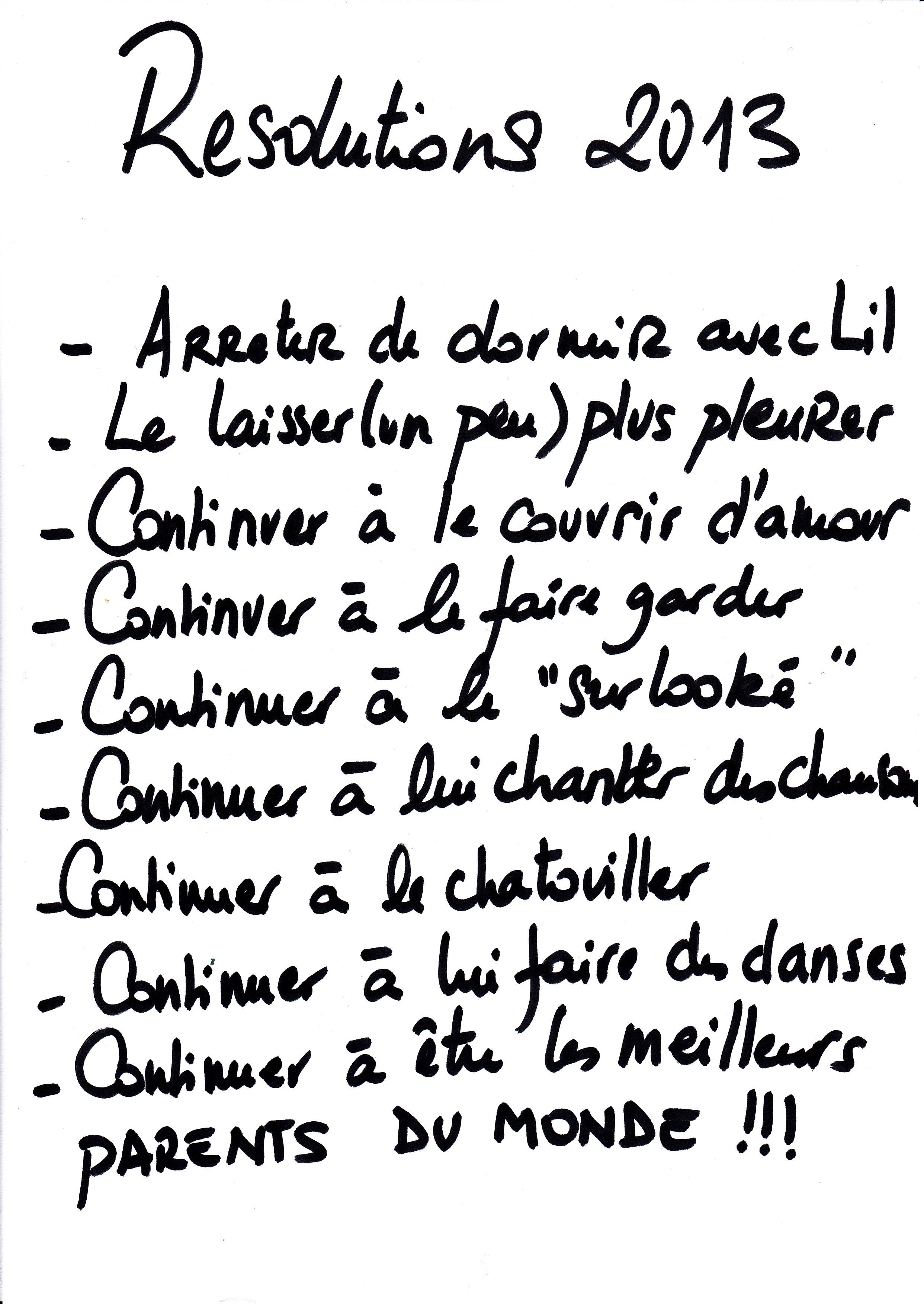 les résolutions de 2013