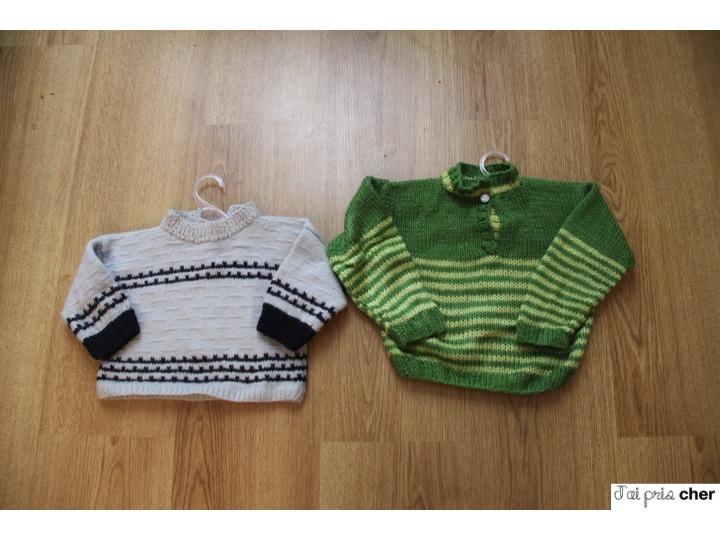 pull bébé tricoté main en laine