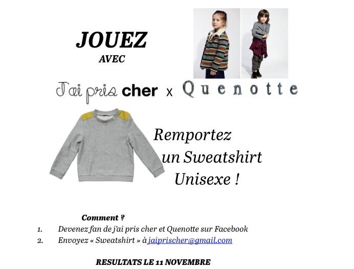 jeu concours Quenotte x j'ai pris cher